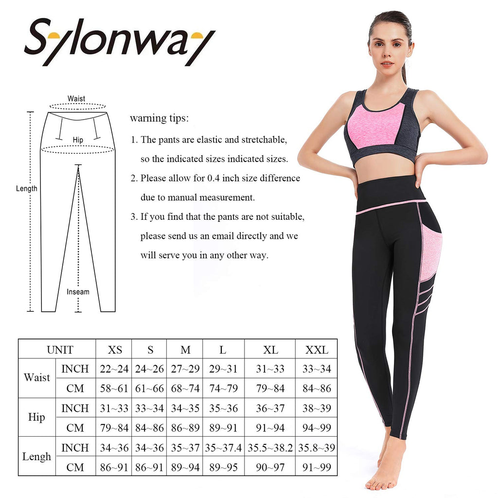 Women's High Waist Yoga Pants with Pockets ,Tummy Control,Workout Running Yoga Leggings