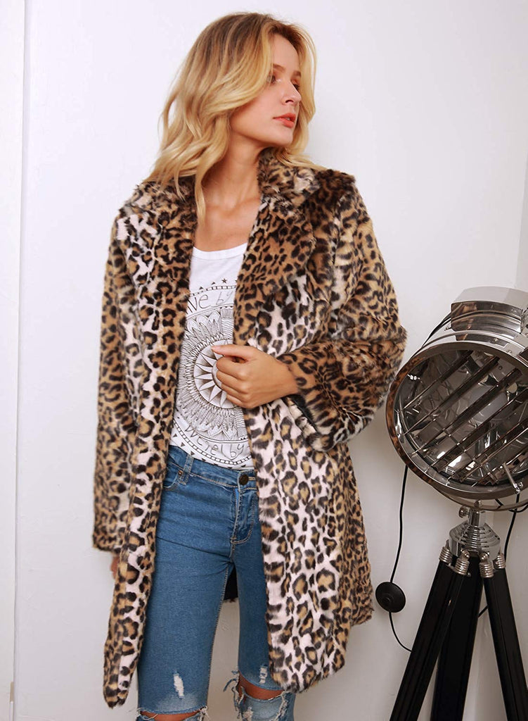 Women Warm Long Sleeve Parka Faux Fur Coat Overcoat Fluffy Top Jacket Leopard