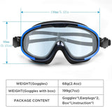 Swim Goggles, No Leaking Anti-Fog Indoor Outdoor Swimming Goggles with UV Protection Mirrored Clear Lenses