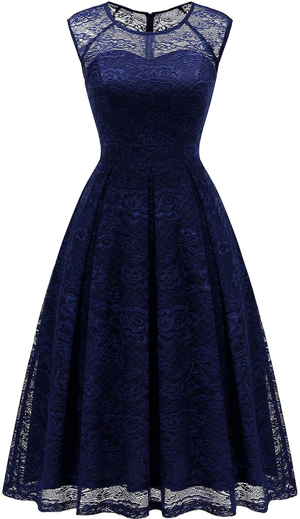 Women's Vintage Floral Lace Sleeveless Bridesmaid Dress Formal Cocktail Party Swing Dress for women