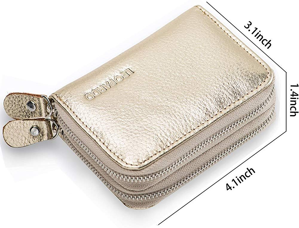 Excellent Women's Genuine Leather Credit Card Holder RFID Blocking Leather Wallet for Women