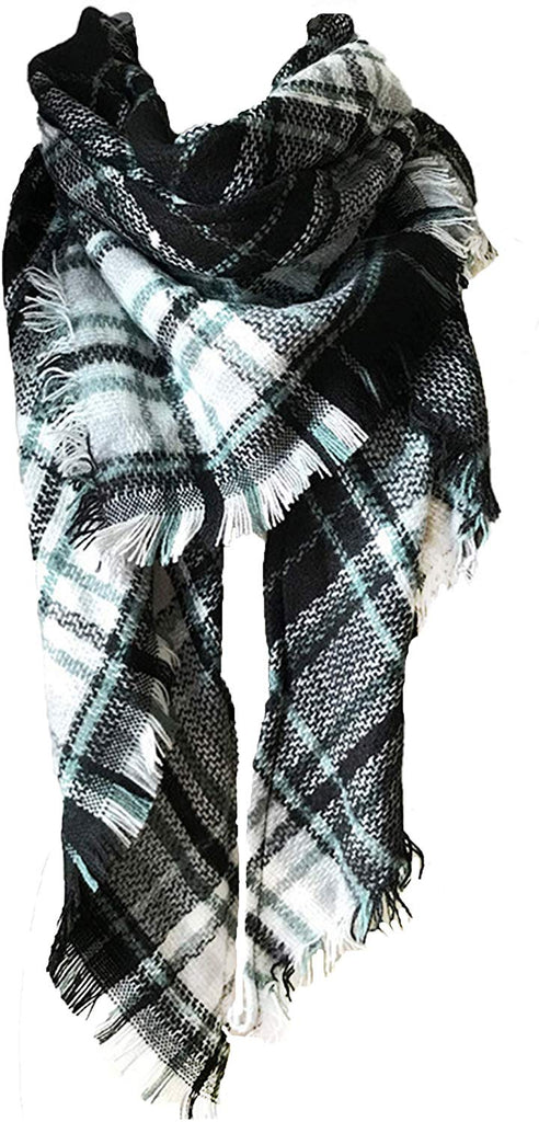 Womens Warm Long Shawl Wraps Large Scarves Knit Cashmere Feel Plaid Triangle Scarf