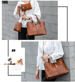 Women Satchel Purses and PU Leather Handbags for Women Shoulder Tote Bags Wallets