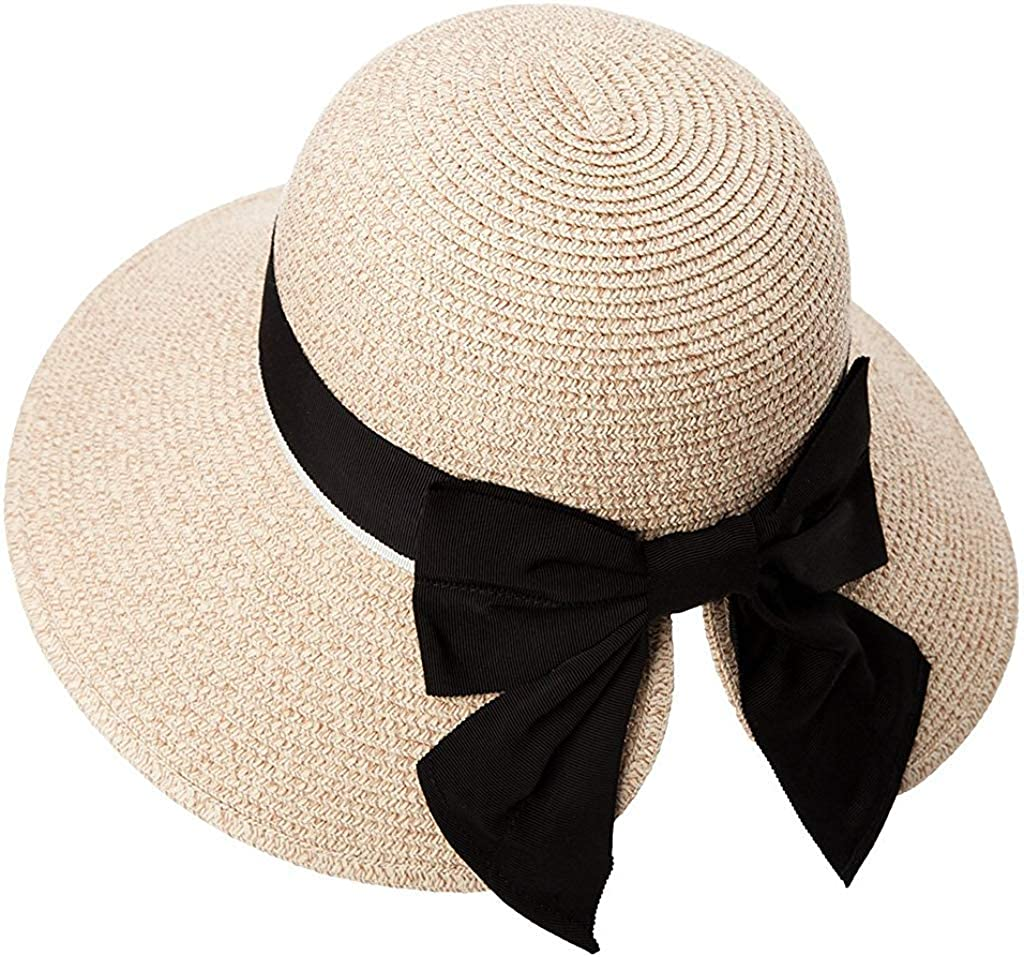 Womens Floppy Summer Sun Beach Straw Hat UPF50 Foldable Wide Brim