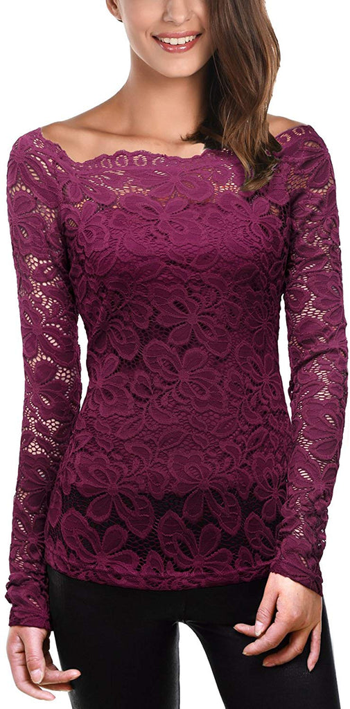 Womens Boat Neck Floral Lace Raglan Long Sleeve Shirt Top