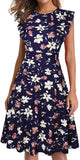 Vintage Ruffle Floral Flared A Line Swing Casual Cocktail Party Dresses for women