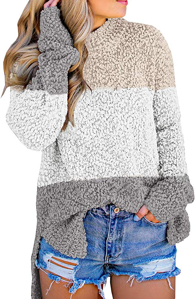 Womens Fuzzy Knitted Sweater Sherpa Fleece Side Slit Full Sleeve Jumper Outwears