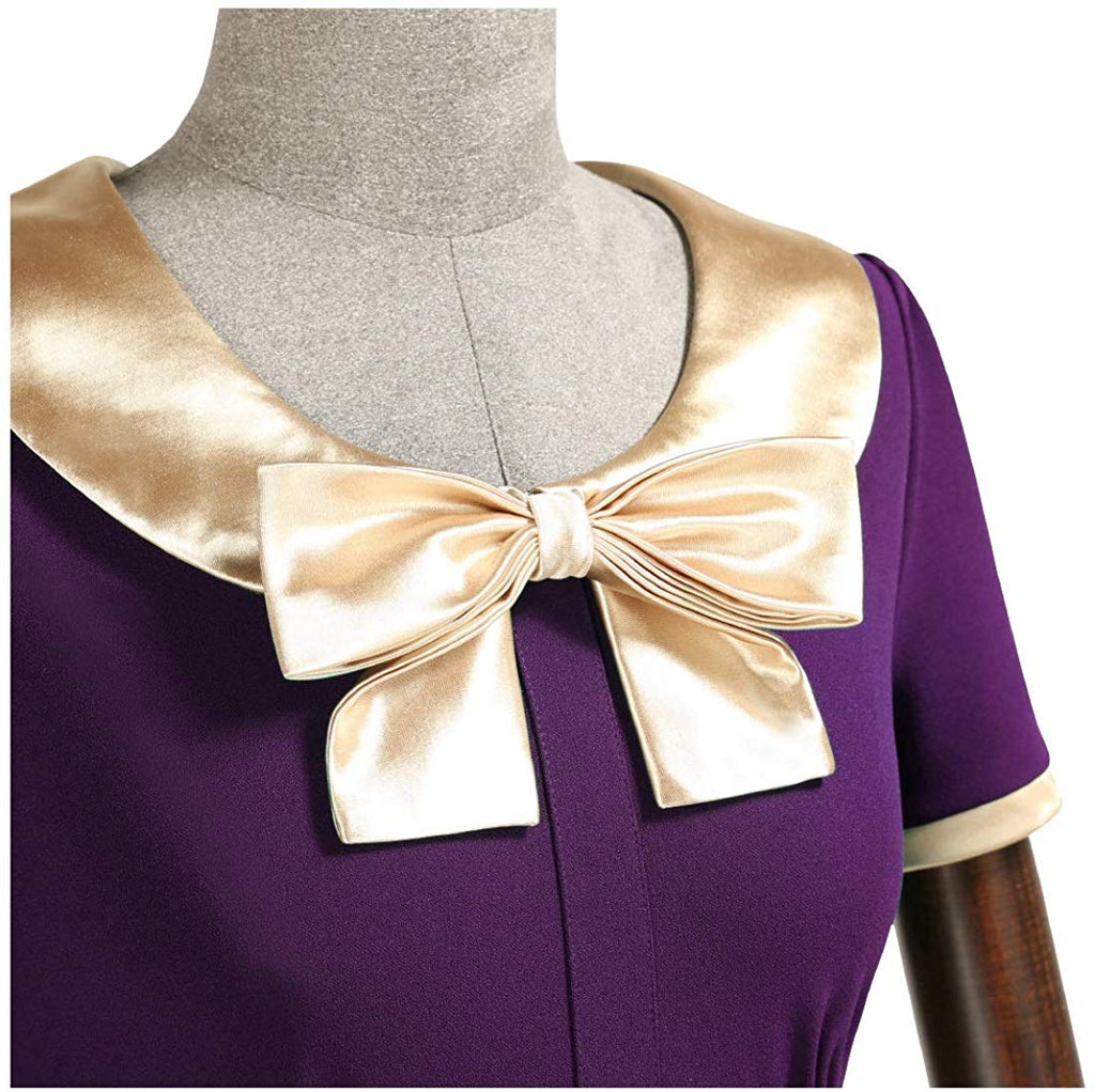 Women 1940s Vintage Golden Bow Wiggle Dress