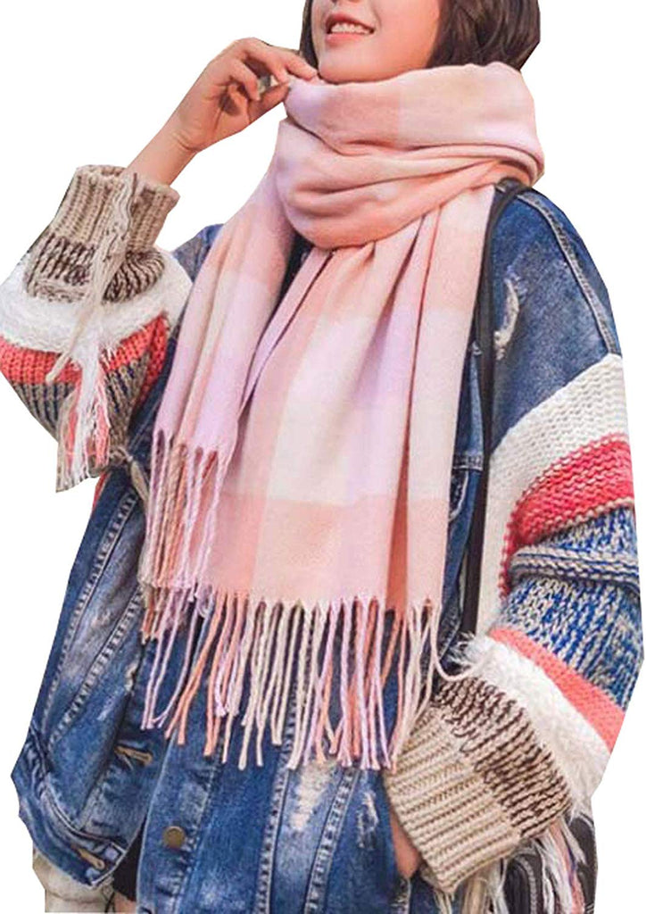 Women's Fashion Scarves Long Shawl Winter Thick Warm Knit Large Plaid Scarf