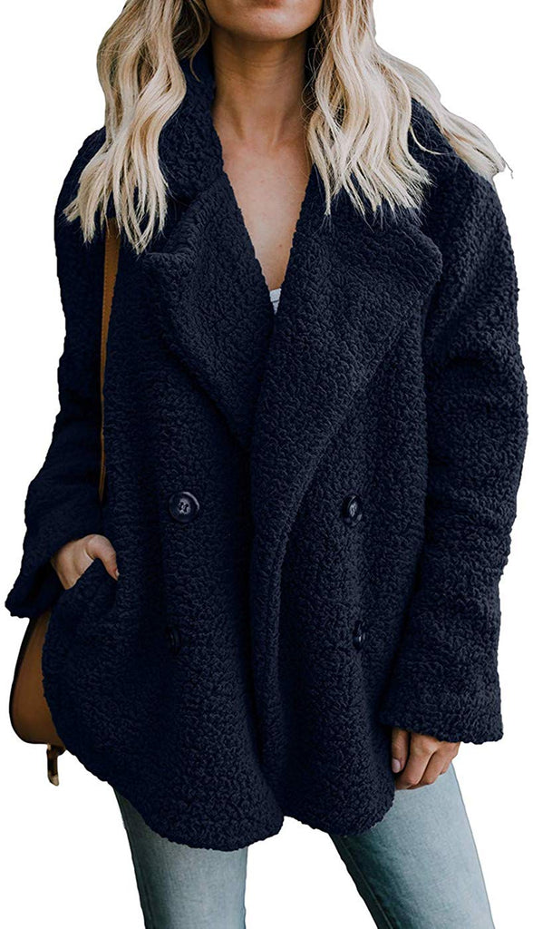 Womens Fleece Fashion Open Front Cardigan Coat Jacket with Pockets Outwear Warm Winter