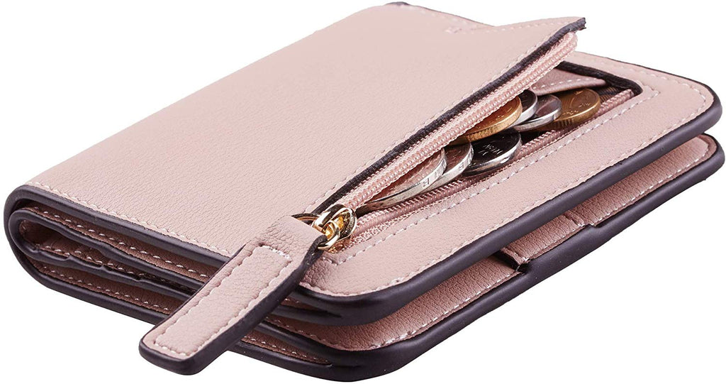 Womens Rfid Blocking Small Compact Bifold Luxury Genuine Leather Pocket Wallet