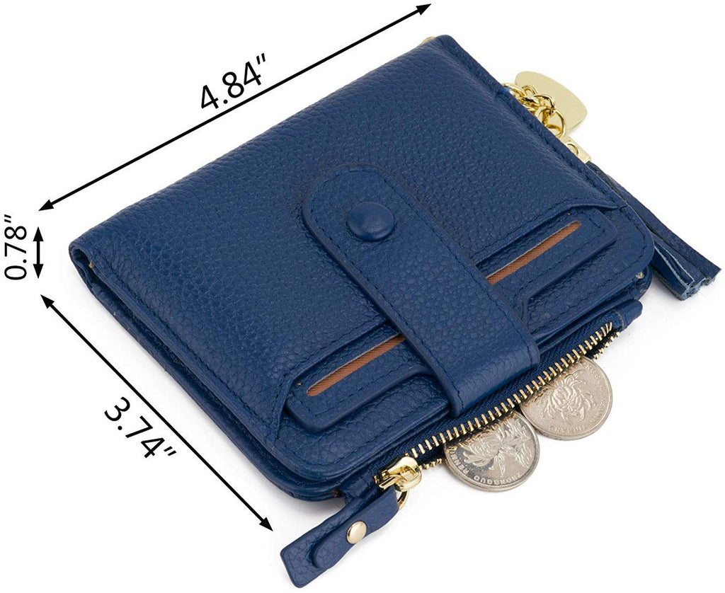 RFID Mini Soft Leather Bifold Wallet With ID Window Card Sleeve Coin Purse