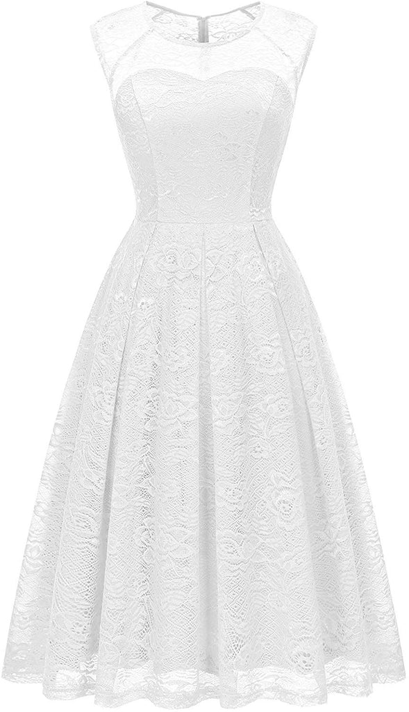 Vintage Floral Lace Sleeveless Bridesmaid Dress Formal Cocktail Party Swing Dress for women