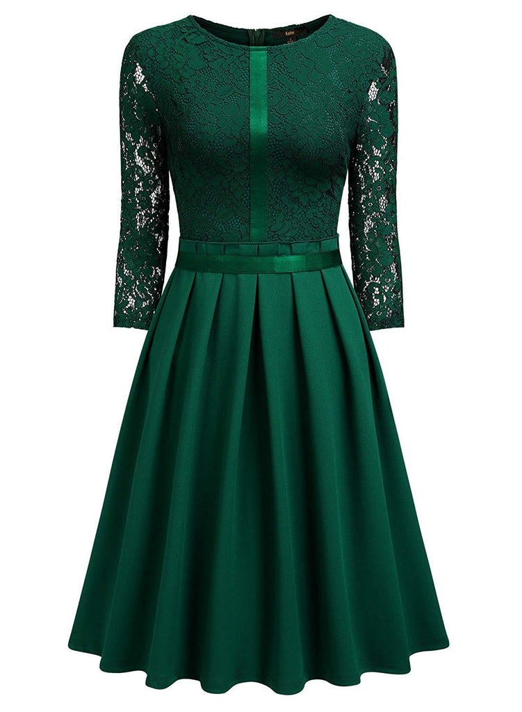 Women's Vintage Half Sleeve Floral Lace Cocktail Party Pleated Swing Dress