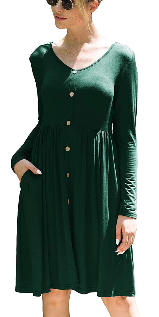 Women's Long Sleeve V Neck Button Casual Plain Swing Dresses Wasp Down A-Line Dress with Pockets