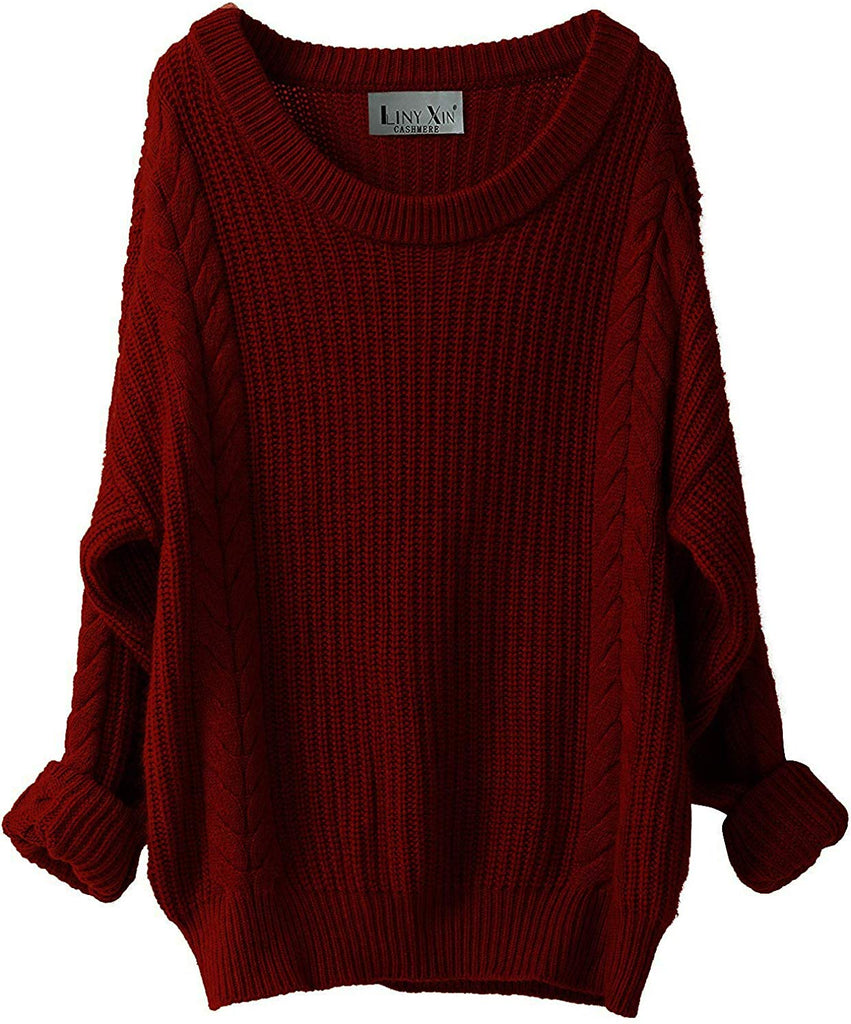 Women's Cashmere Oversized Loose Knitted Crew Neck Long Sleeve Winter Warm Wool Pullover Long Sweater Dresses Tops