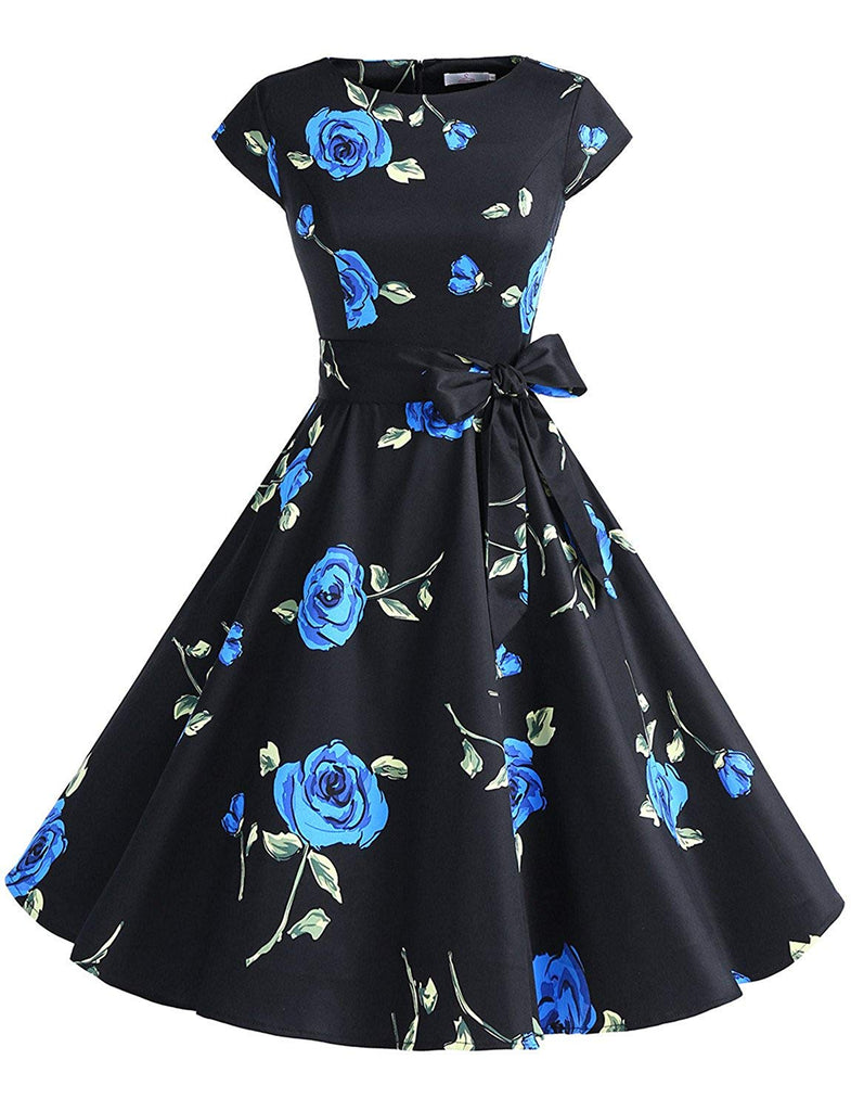 1950s Dress Women Vintage Retro Rockabilly Prom Dresses Cap-Sleeve