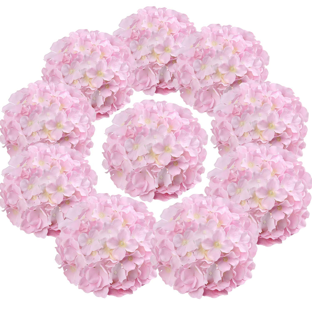 Silk Hydrangea Heads Artificial Flowers Heads with Stems for Home Wedding Decor,Pack of 10 (Baby Pink)