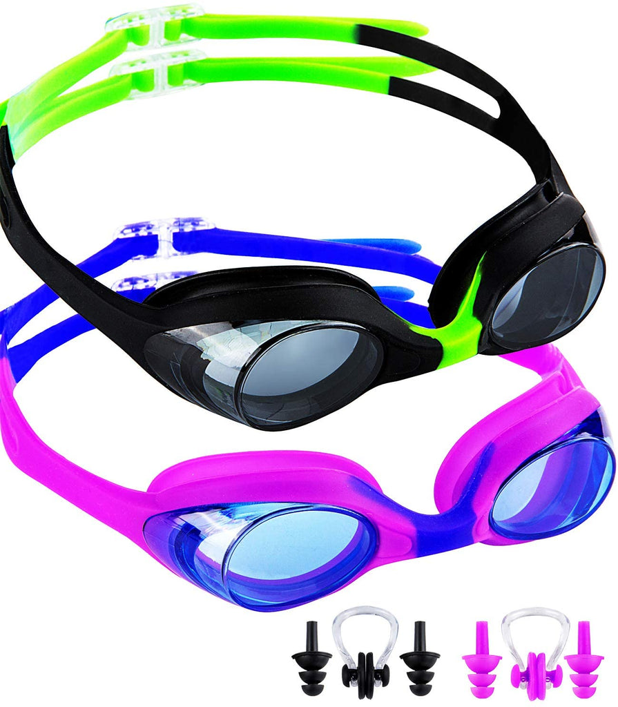 2 Pack Kids Swimming Goggles,No Leaking,Anti Fog,UV Protection Swim Glasses Water Goggles