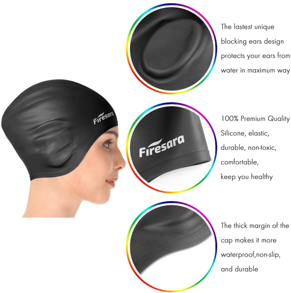 Swim Cap Swim Goggles, 3D Ergonomic Silicone Swimming Caps for Long Hair Women Short Hair Men Kids Adult