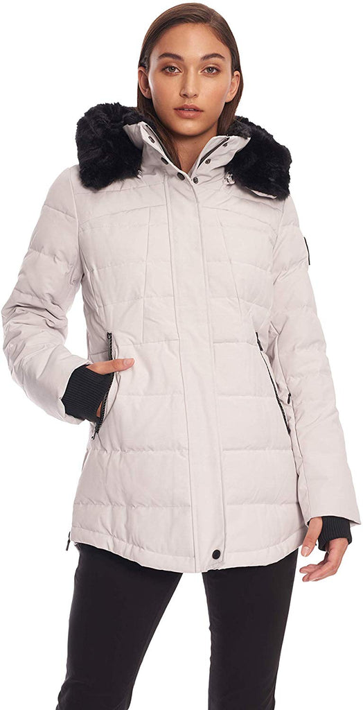 Alpine North Womens Down Short Winter Parka with Faux Fur