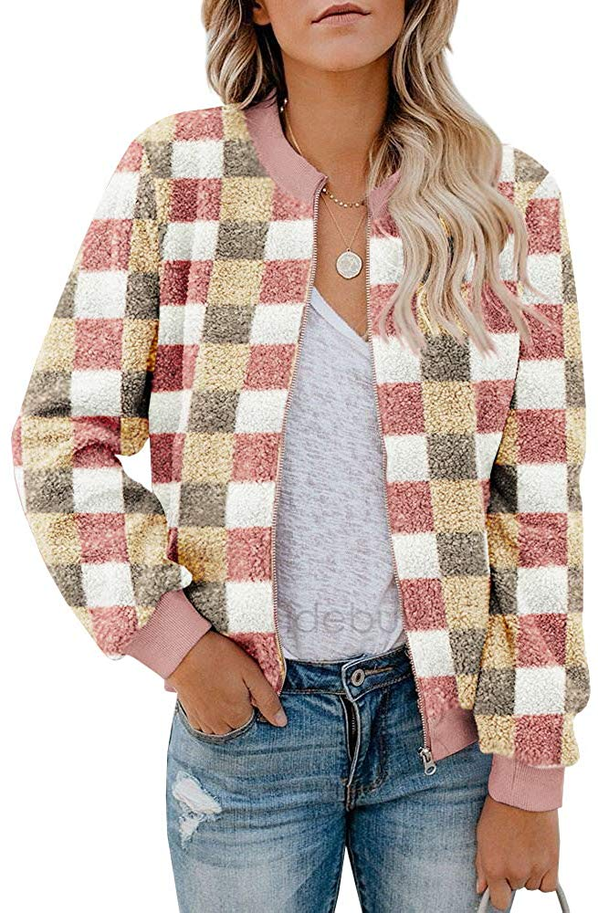 Women Fleece Jacket Winter Bomber Long Sleeve Faux Sherpa Fuzzy Casual Zip Up Coat Pocket