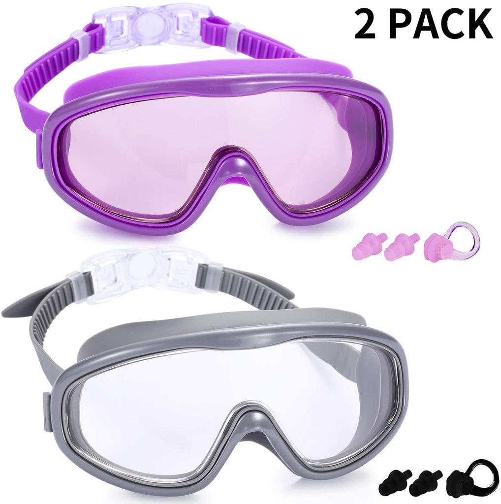 2 Pack Swim Goggles, Swimming Glasses for Adult Men Women Youth, No Leaking Anti Fog UV 400 Protection Waterproof