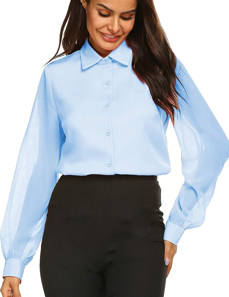 Blouses Bow Tie Neck Long Sleeve Office Work Chiffon Elegant Patchwork Casual Button Down Shirts