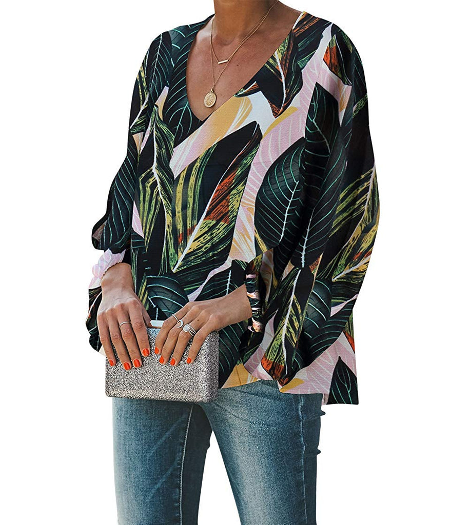 Balloon Sleeve V-Neck Blouse Top Women's Casual Sweet & Cute Loose Shirt