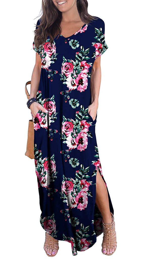 GRECERELLE Women's  Short Sleeve Split Maxi Dresses