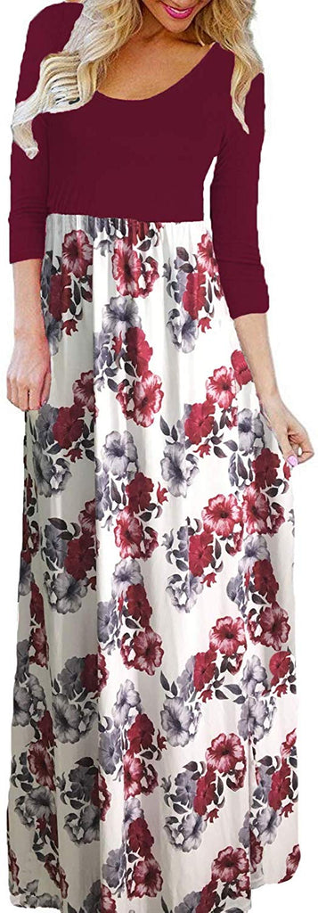 Women's Summer Boho Sleeveless Floral Print Tank Long Maxi Dress