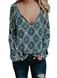 Women Casual  Tops Boho Floral Print V Neck Long Sleeve Drawstring Blouse