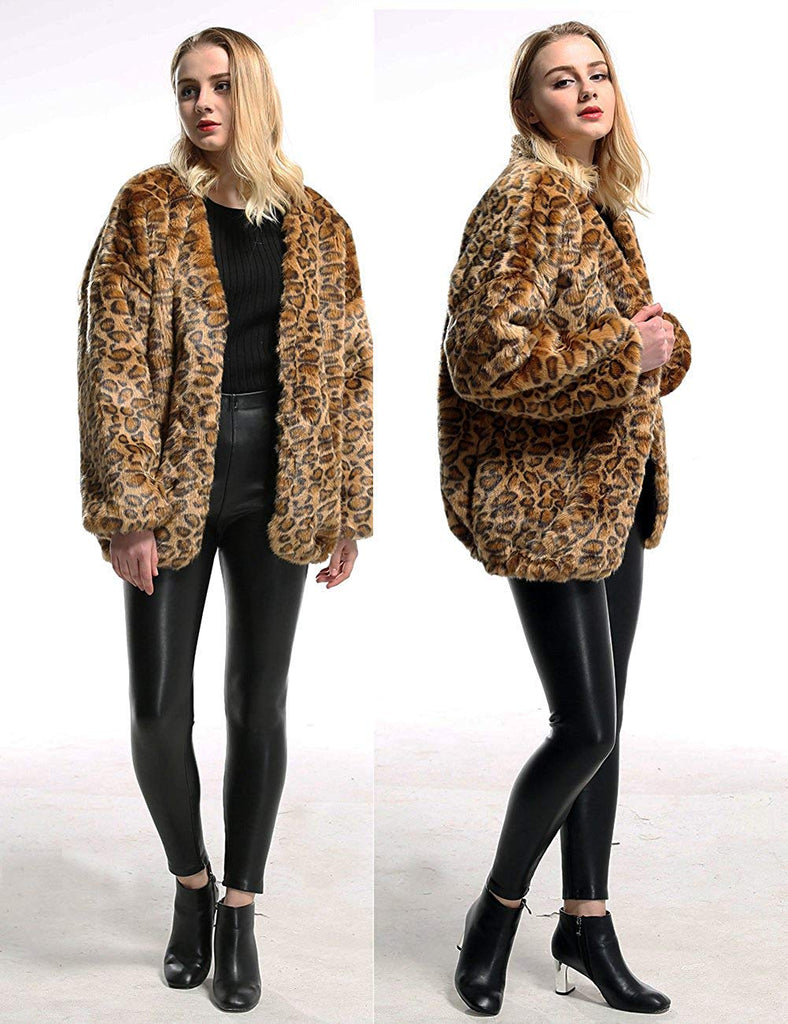 Womens Winter Faux Fur Oversize Boyfriend Loose Leopard Outerwear Coat Jackets