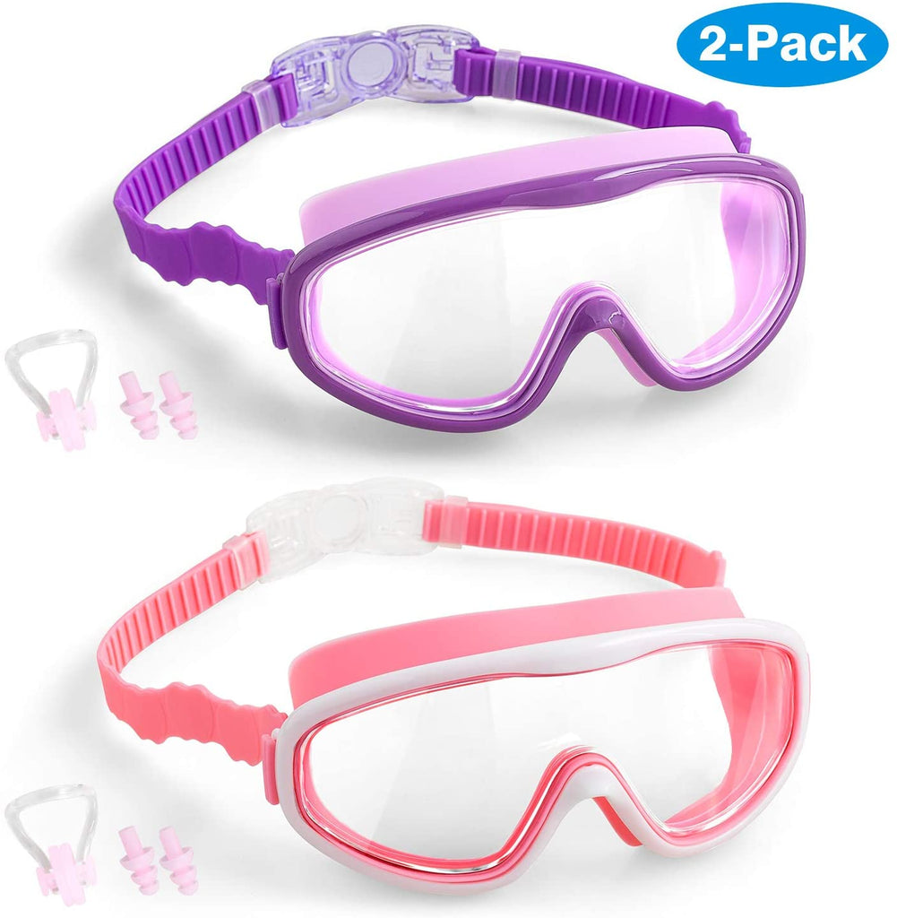 Kids Swim Goggles, 2-Pack Wide Vision Swimming Goggles for Children Toddler and Early Teens from 4 to 15 Years Old