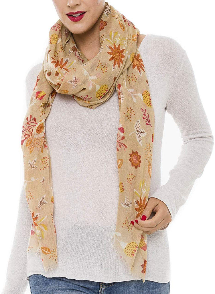 Scarf for Women Lightweight Floral Flower Scarves for Summer Fall Shawl Wrap