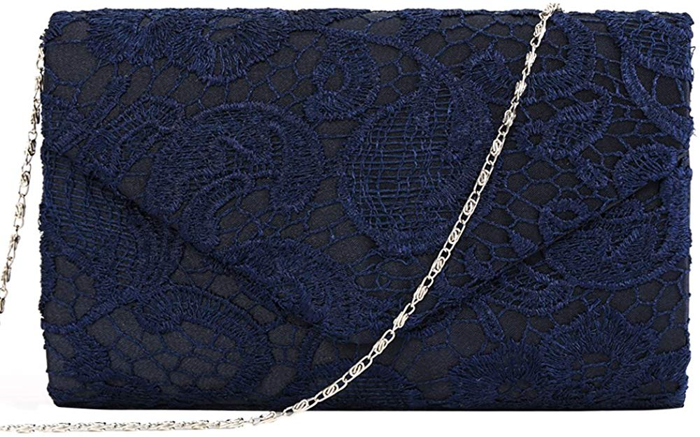Women's Elegant Floral Lace Envelope Clutch Evening Prom Handbag Purse