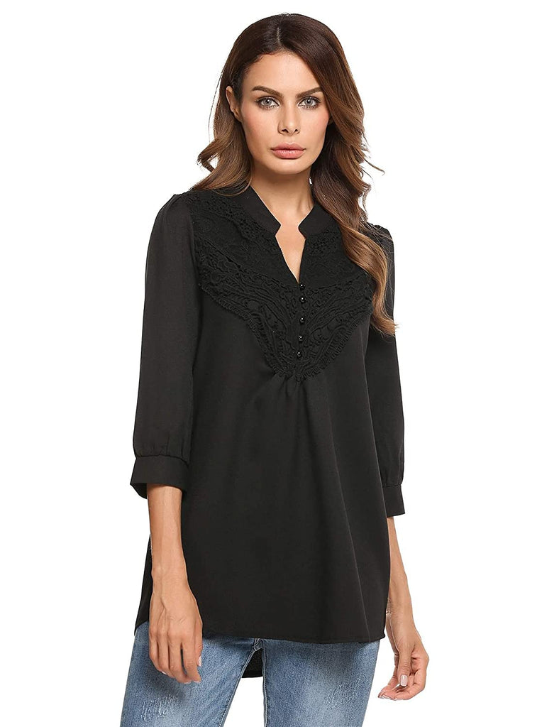 Womens V Neck Shirts Lace Splicing Tops 3/4 Sleeve Tunic Loose Chiffon Blouses