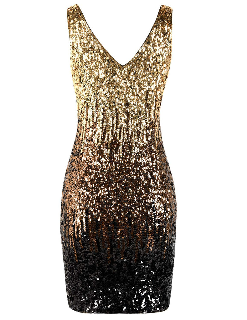 Women's Sparkly nightout dress Sexy Deep V Neck Sequin Glitter Bodycon Stretchy Mini Party Dress