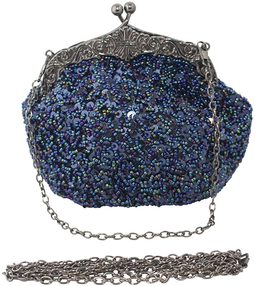 Full Sequin Mesh Beaded Antique Style Wedding Evening Formal Cocktail Clutch Purse