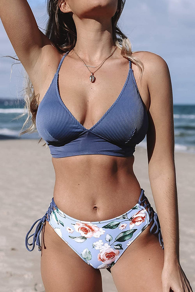 Women's Bikini Set V Neck Lace Up Two Piece Swimsuits