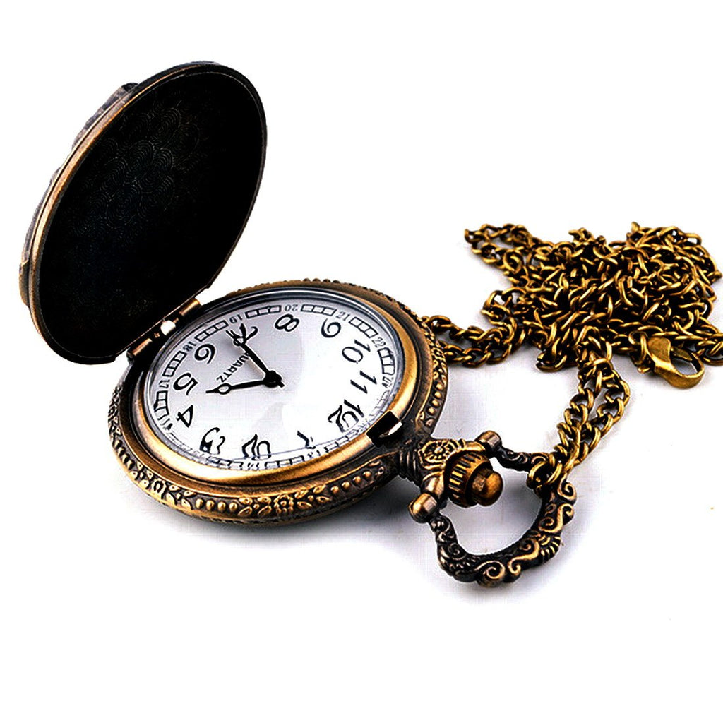 Unisex Antique Case Vintage Brass Rib Chain Quartz Pocket Watch Train NT004