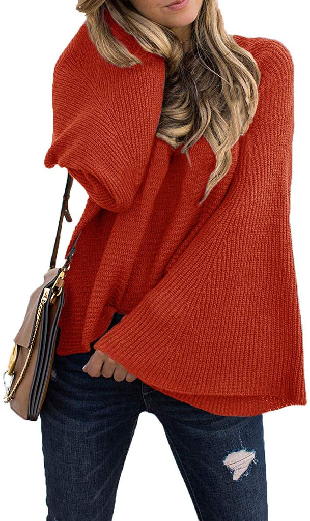 Women's Casual Kimono Bell Sleeve Patchwork Stripe Loose Fit V Neck Pullover Sweater Knitted Tops Blouse Cardigan