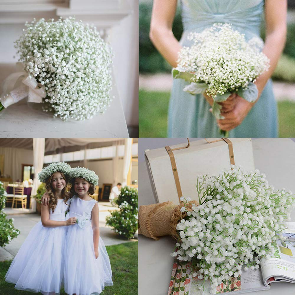 12 Pcs Babys Breath Artificial Flowers, Gypsophila Real Touch Flowers for Wedding Party Home Garden Decoration
