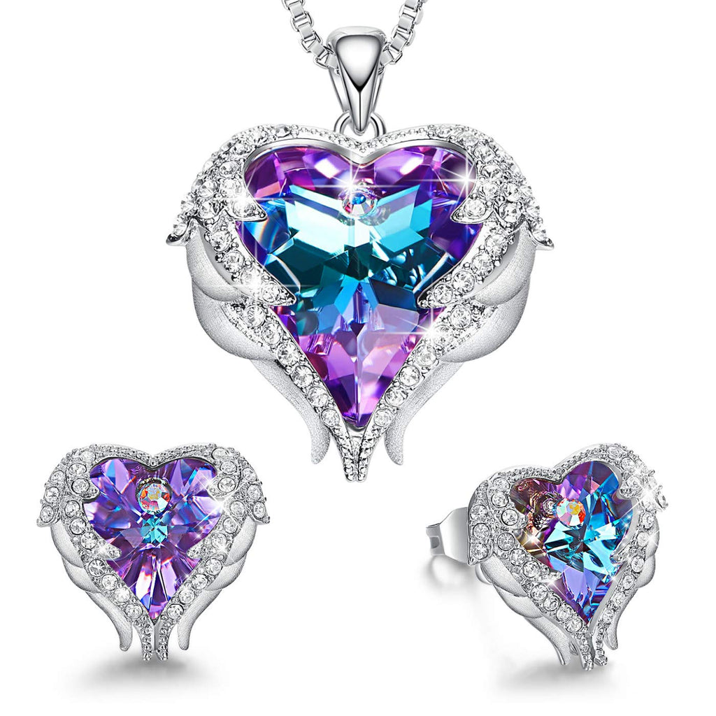 CDE Angel Wing Heart Necklaces and Earrings  Crystals from Swarovski 18K White Gold Plated Jewelry Set for Women