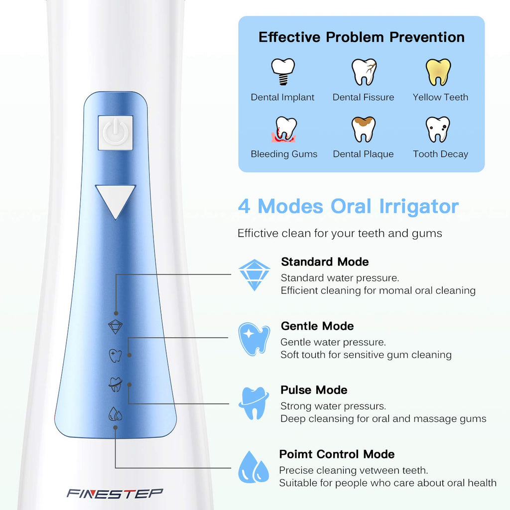 Cordless Dental Oral irrigator, Portable and Rechargeable IPX7 Waterproof Water Flosser for Home and Travel, Braces & Bridges Care