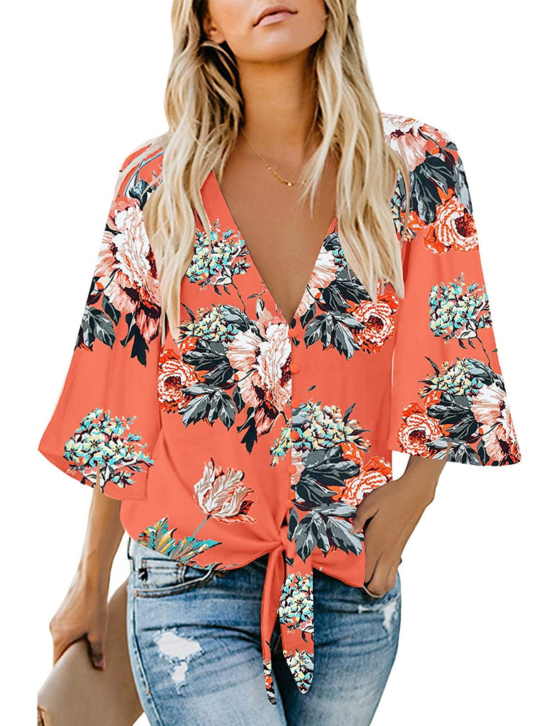 Blouses Shirt Women's Casual 3/4 Tiered Bell Sleeve Crewneck Loose Tops Blouses Shirt
