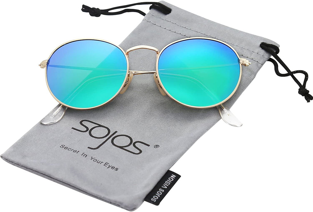 Polarized Sunglasses Classic Small Round Metal Frame for Women Men