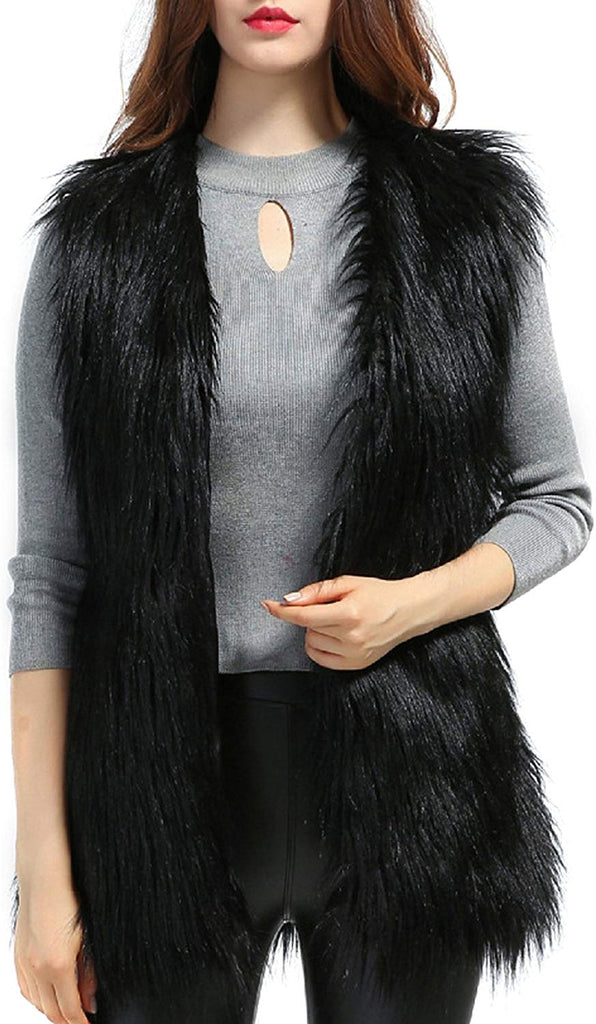 Women's Faux fur Waistcoat Vests Sleeveless Jacket Outerwear