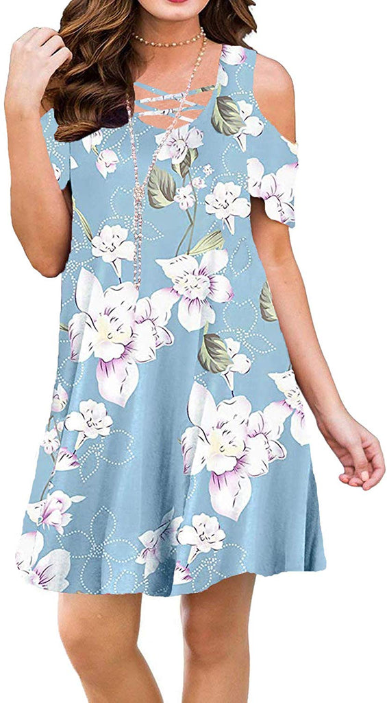 Summer Cold Shoulder Criss Cross Neckline Short Sleeve Casual Tunic Top Dress (S-3XL) for women
