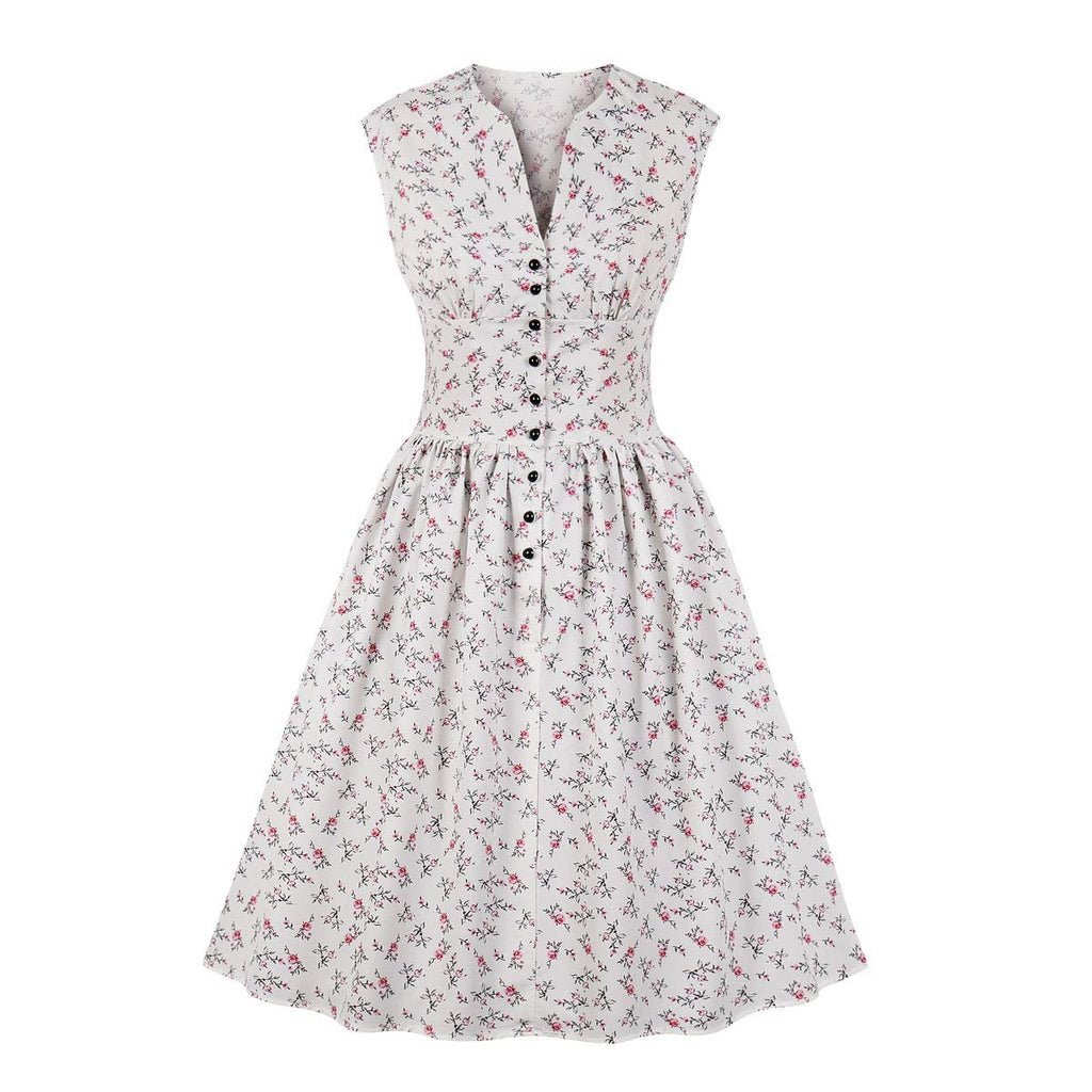 Women's Split Neck Floral Button 1940s Day 1950s Vintage Tea Dress
